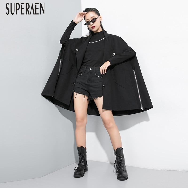 SuperAen Europe Fashion   Trench   Coat for Women 2019 Autumn New Wild Cotton Windbreaker Female Pluz Size Zipper Women Clothing