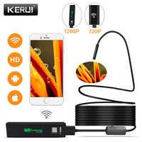 KERUI WIFI endoscopio cámara Mini impermeable inspección con cable flexible Cámara 8mm 1M USB endoscopio boroscopio IOS endoscopio para Iphone