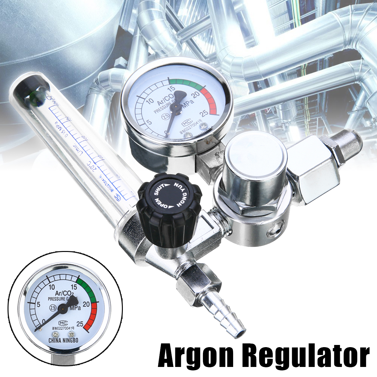 Welding Gas Meter Argon CO2  Pressure Flow Regulator MIG MAG Weld Gauge Argon Regulator Pressure Reducer