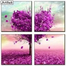 Square/round 5d diamond painting heart purple tree landscape 3d mosaic embroidery crafts sticker