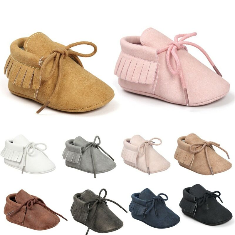 2019 Infant Baby Boy Girl PU Leather Moccasin Shoes First Walkers Tassels Soft Sole Shoes Solid Lace-up Baby Shoes 0-18Months