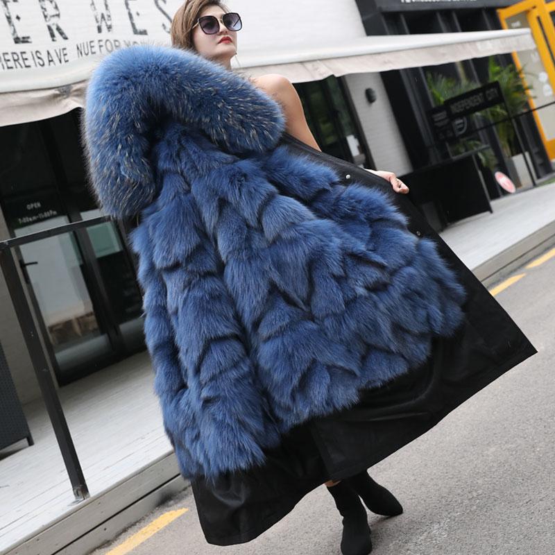 Winter Fur Coat Woman Parka Real Fur Real Fox Fur Coat Woman Natural Raccoon Dog Fur Collar  Fox Fur Liner Winter Warm Coat