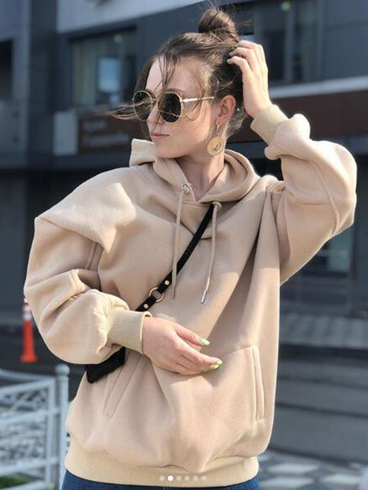 Tangada Hoodie Sweatshirts Pullovers Pocket Warm Japanese Fashion Women Fleece Winter