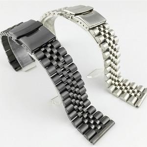 Image 2 - Pulseira de aço inoxidável brilhante de seda 18mm 20mm 22mm 23mm 24mm 26mm pulseira de relógio duplo bloqueio fivela de substituição pulseira de relógio com ferramenta
