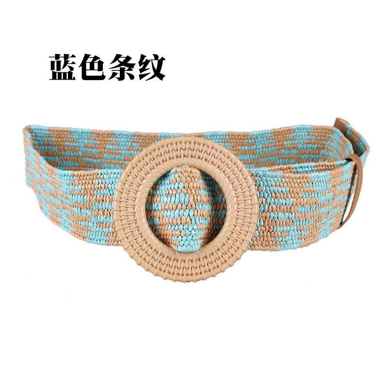 Wooden Buckle Dress Belt For Women Casual Female Braided Wide Strap Female Designer Woven Girls Elastic PP Straw Belts BZ64