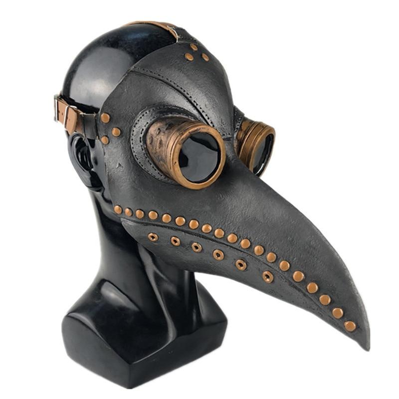 Masquerade Mascara Long Nose Beak Bird Crow Halloween Led Plague Doctor Latex Mask Light Cosplay Steampunk Halloween Accessories