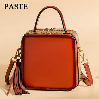 PASTE Handbags Bags Female Genuine Leather 2018 New  Women Crossbody Messenger Bag Rivet Small Shoulder Bag Ladies Tassel LSH306 - DISCOUNT ITEM  45% OFF All Category