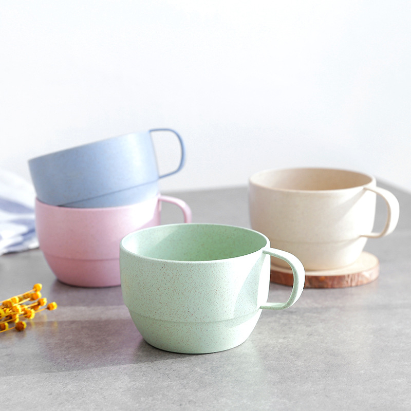 Health Wheat Straw Couple Cup Coffee Tea Personality Small Round Milk Cup Valentine's Day Gifts Home Office Decorative Cups