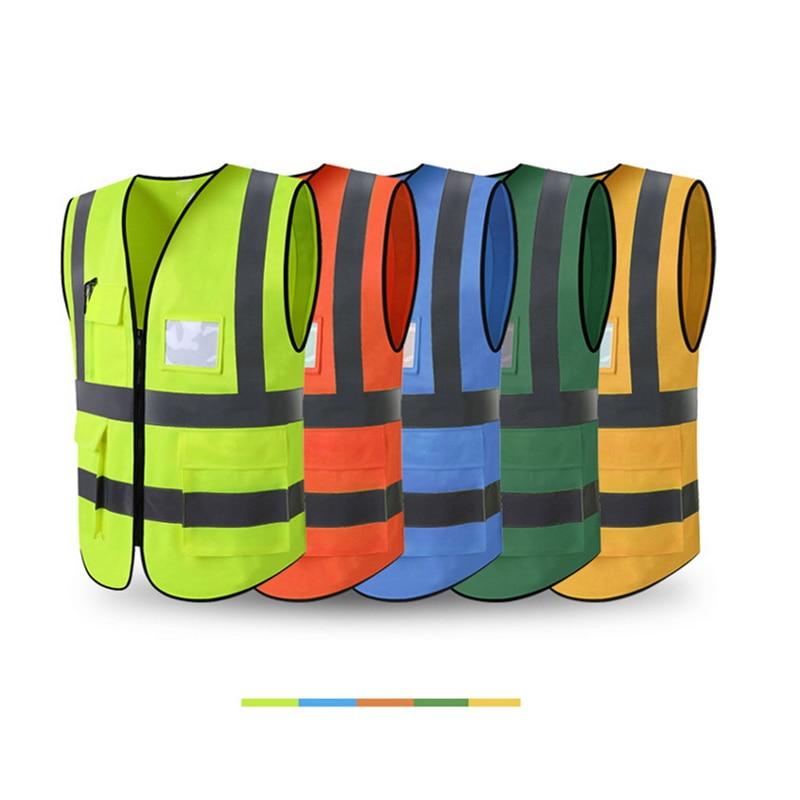 MJARTORIA 2019 Reflective Vest Application Engineering Fluorescent Vest Multi-pocket Traffic Road Safety Protective Clothing