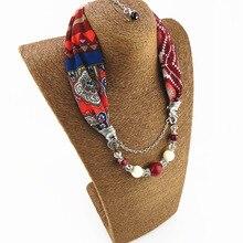 New pendant scarf lady shawl Necklace printed chiffon short