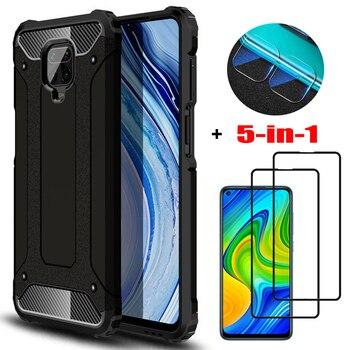 5-in-1, glass + armor case for redmi+note+9pro xiaomi 8t silicone anti-shock cover redmi 9s note 8 pro bumper case redminote 8pro xaomi redmi note 9 s case cover redmi note 9 pro xiomi note8t phone cases note9