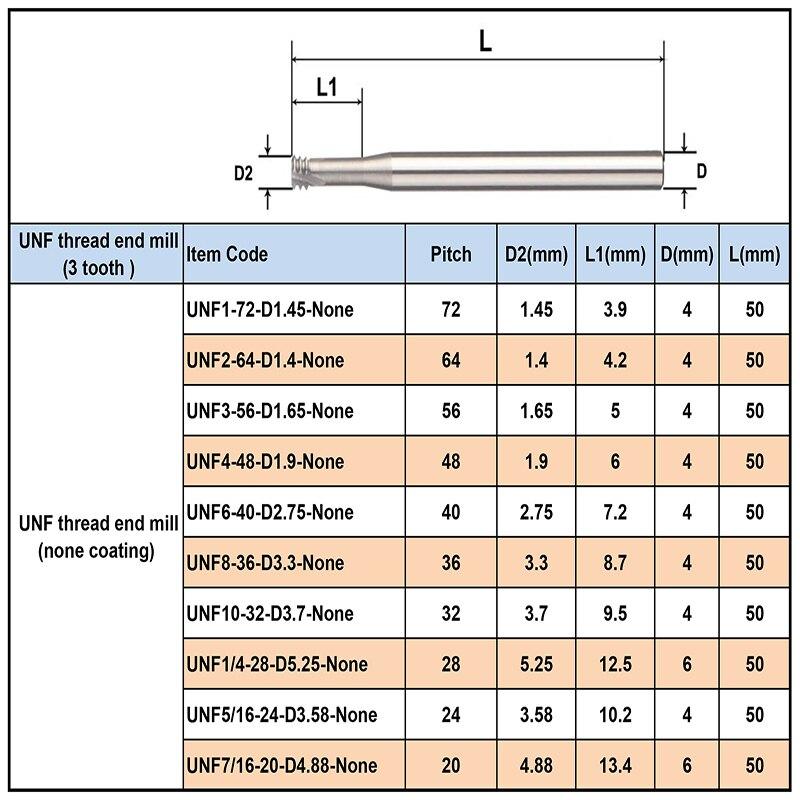 Carbide Thread Mill Cutter M4.0*0.7*D4*50 PLATIT Coated CNC Milling Cutting Tool