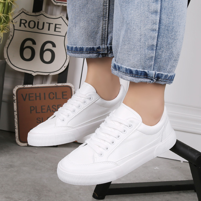 New White/Black Women Sneakers Leather Casual Shoes Woman Designer Lace Up Ladies Trainers Flat Shoes Women Sport Schuhe Frauen