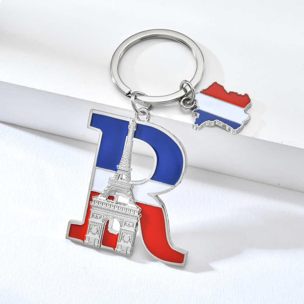 Vicney alta qualidade letra r chaveiro frança lembrança arco de triomphel chaveiro carta liga de zinco torre eiffel chaveiro presentes