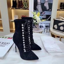 Г., черные кожаные ботильоны со стразами зимние ботинки на шнуровке с острым носком на высокой шпильке женская обувь для вечеринок