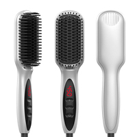 LED Heated Hair Beard Straightening Brush With LED Display Portable Electric Hair Straightener Durable Straight Hair Comb