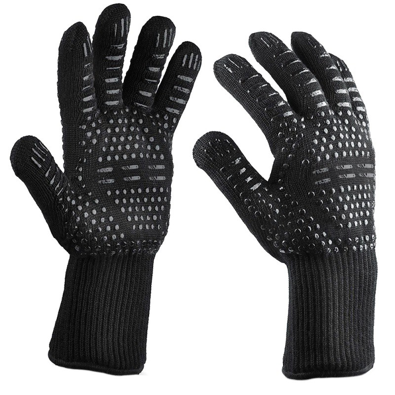 Cotton + non slip silicone insulation high temperature gloves 500 degrees BBQ fireproof barbecue microwave gloves|Oven Mitts & Oven Sleeves|Home & Garden - title=