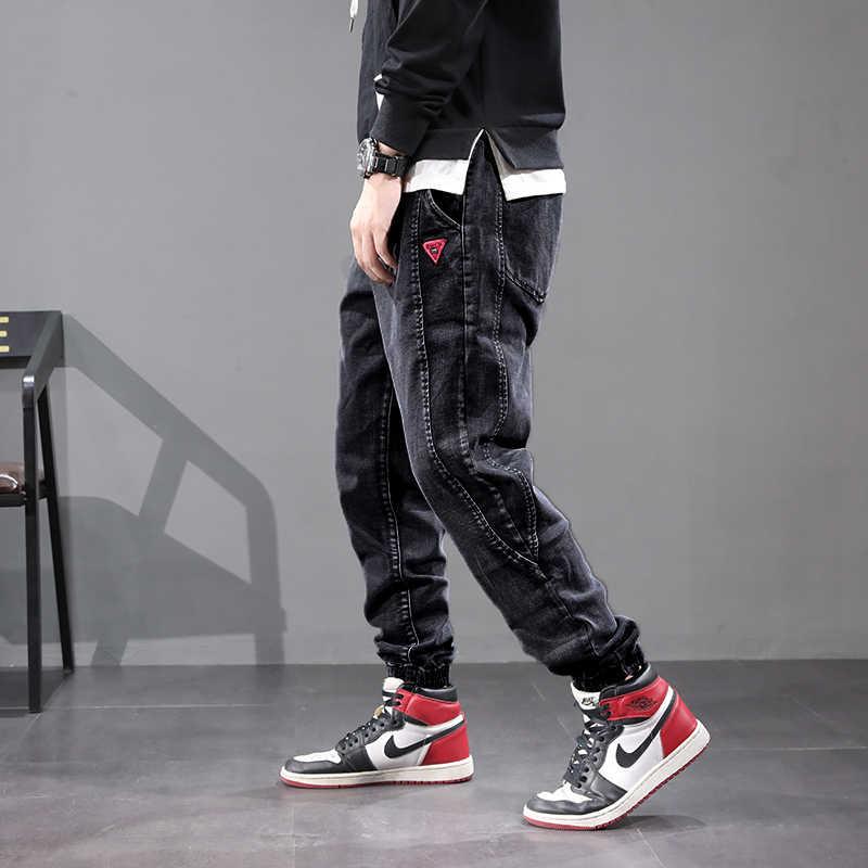 Japanese Style Fashion Men Jeans Vintage Designer Loose Denim Cargo Pants Spliced Harem Jeans Street Hip Hop Jeans Men Joggers