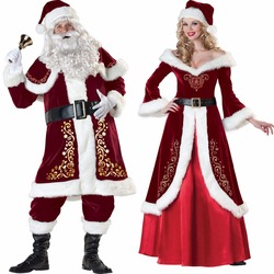 Deluxe Men Women Christmas Costume Cosplay Couple Santa Claus Uniform  Holiday