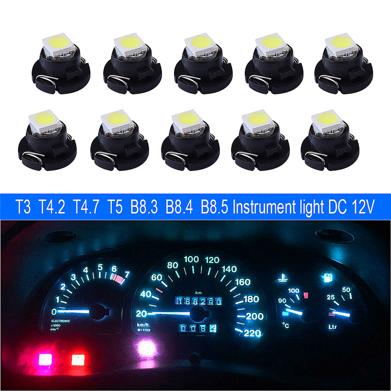 10x T3 T4.2 T4.7 T5 B8.3 B8.4 B8.5 LED Car Light Bulb Luces LED Para 1 LEDs 1210 5050 SMD Auto Interior Side Light