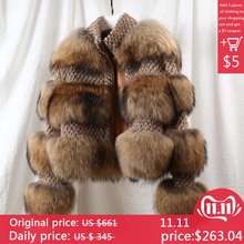 Шуба из натурального меха зимний жакет женская парка пальто меховое Воротник мех енота шерстное пальто бомбер жакет корейская уличная одежда новая