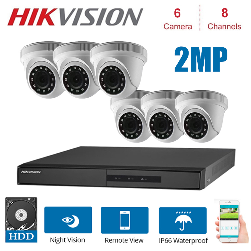 Hikvision CCTV Camera Kits  DS-7208HGHI-F1/N + DS-2CE56D0T-IRF  2MP camera  Bullet Security Camera KITS