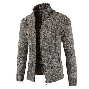 Image 4 - Brand New Fashion grube swetry sweter płaszcz mężczyźni Slim Fit swetry dzianiny zamek ciepły zimowy styl biznesowy mężczyzn ubrania