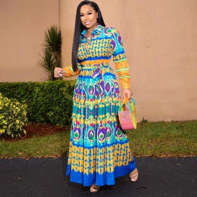 Abiti Per Le Donne Robe Africaine 2019 Abbigliamento Africano Dashiki africano di Modo Panno di Stampa Lungo Maxi Vestito Abbigliamento Africa