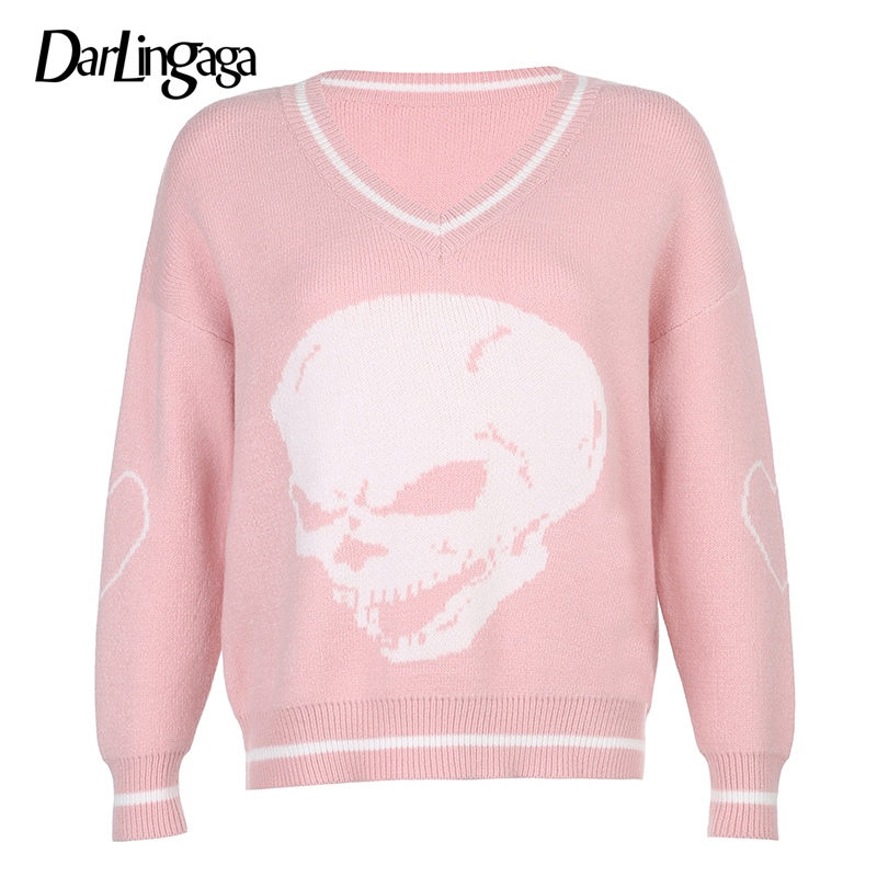 Darlingaga Gothic Skull Print Autumn Winter Woman Sweaters Fashion Loose Y2K Pullover Harajuku Knitted Sweater Ladies Pull Femme 9