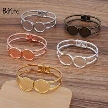 BoYuTe (5 Pieces/Lot) 65*60MM Metal Brass Bracelet Base with 20MM Blank Tray Bezel Diy Handmade Jewelry Accessories
