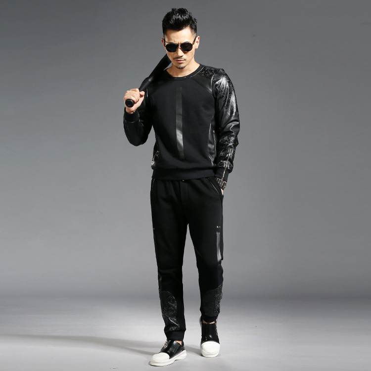 Tao Bai Ye Popular Brand MEN'S Suit Trend Pu Joint Slim Fit Round Neck Sweater Sports Ankle Banded Pants Two-Piece 2857