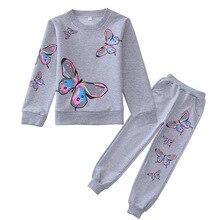От 4 до 12 лет, осенний комплект для девочек, повседневный Детский комплект, костюмы рубашка с длинными рукавами и бабочкой+ штаны, модная одежда для девочек детские спортивные комплекты