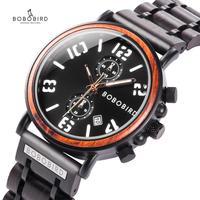 새로운 BOBO 버드 우드 시계 남자 방수 탑 럭셔리 브랜드 군사 시계 나무 상자와 빛나는 손 시계 선물 relogio mascu