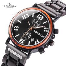 New BOBO BIRD Wood Watch Men waterproof Top Luxury Brand Military Watches Luminous Hand Clock With Wooden Box Gift relogio mascu