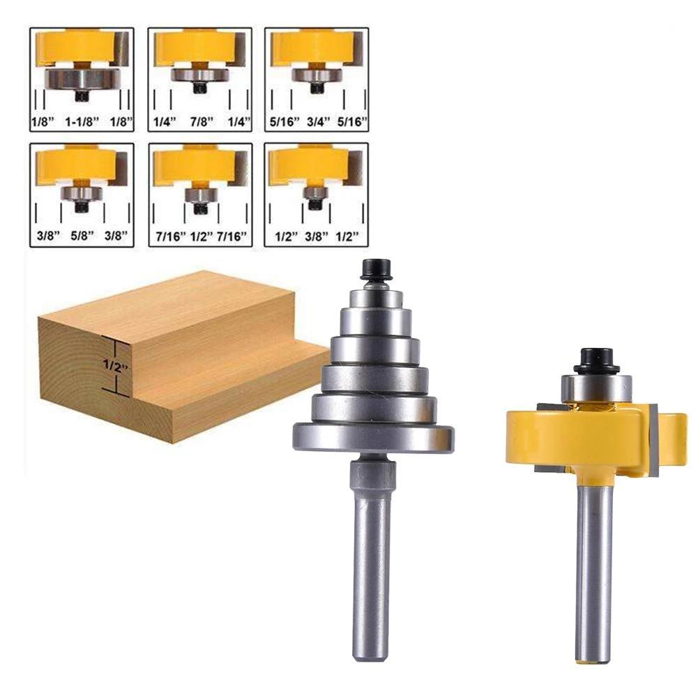 1//4 3//8 7//16 8MM Shank Rabbet Router Bit with 6 Interchangeable Bearings Set-1//8 1//2 Bearings 5//16