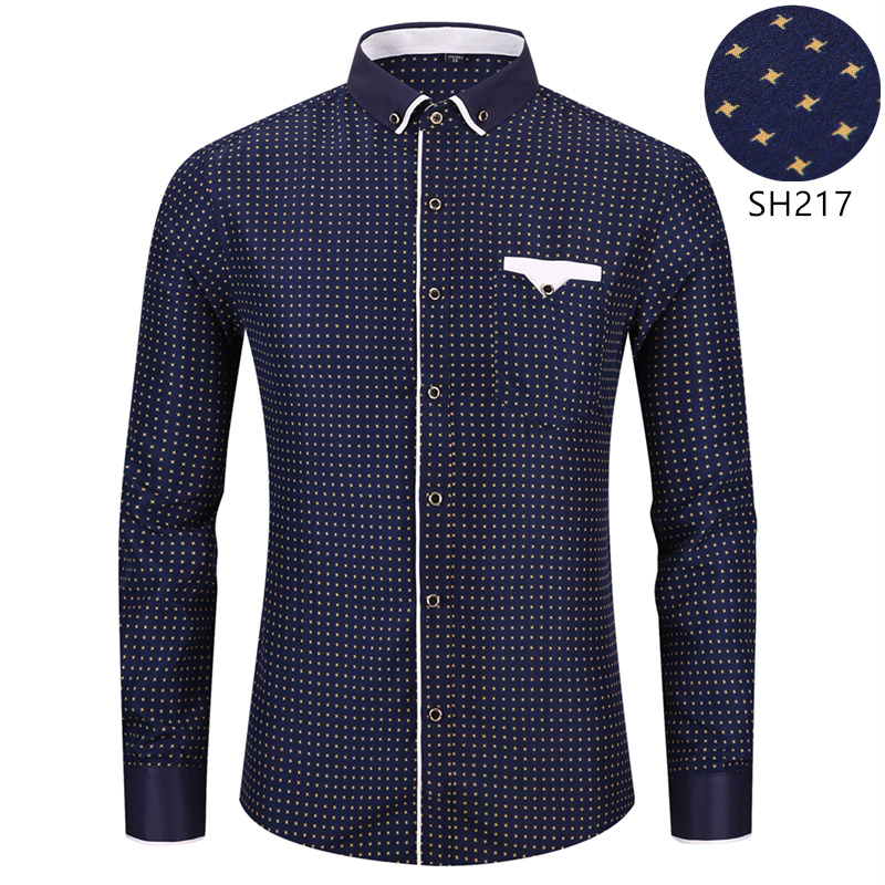 Fashion Men 39 s Printed Long Sleeved Casual Shirt 2019 New Male Social Slim Fit Collar Button Stitching Design in Casual Shirts from Men 39 s Clothing