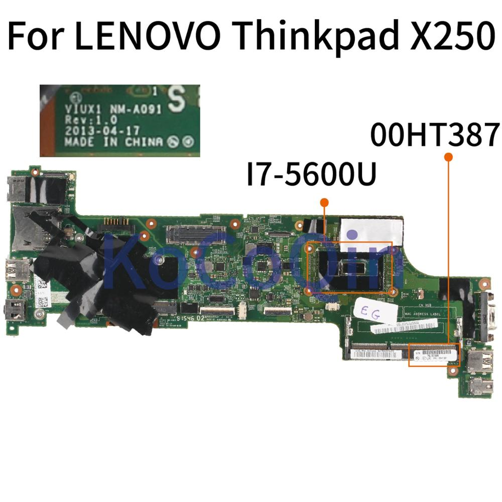 KoCoQin Laptop Motherboard For LENOVO Thinkpad X250 SR23V I7-5600U Mainboard 00HT387 NM-A091