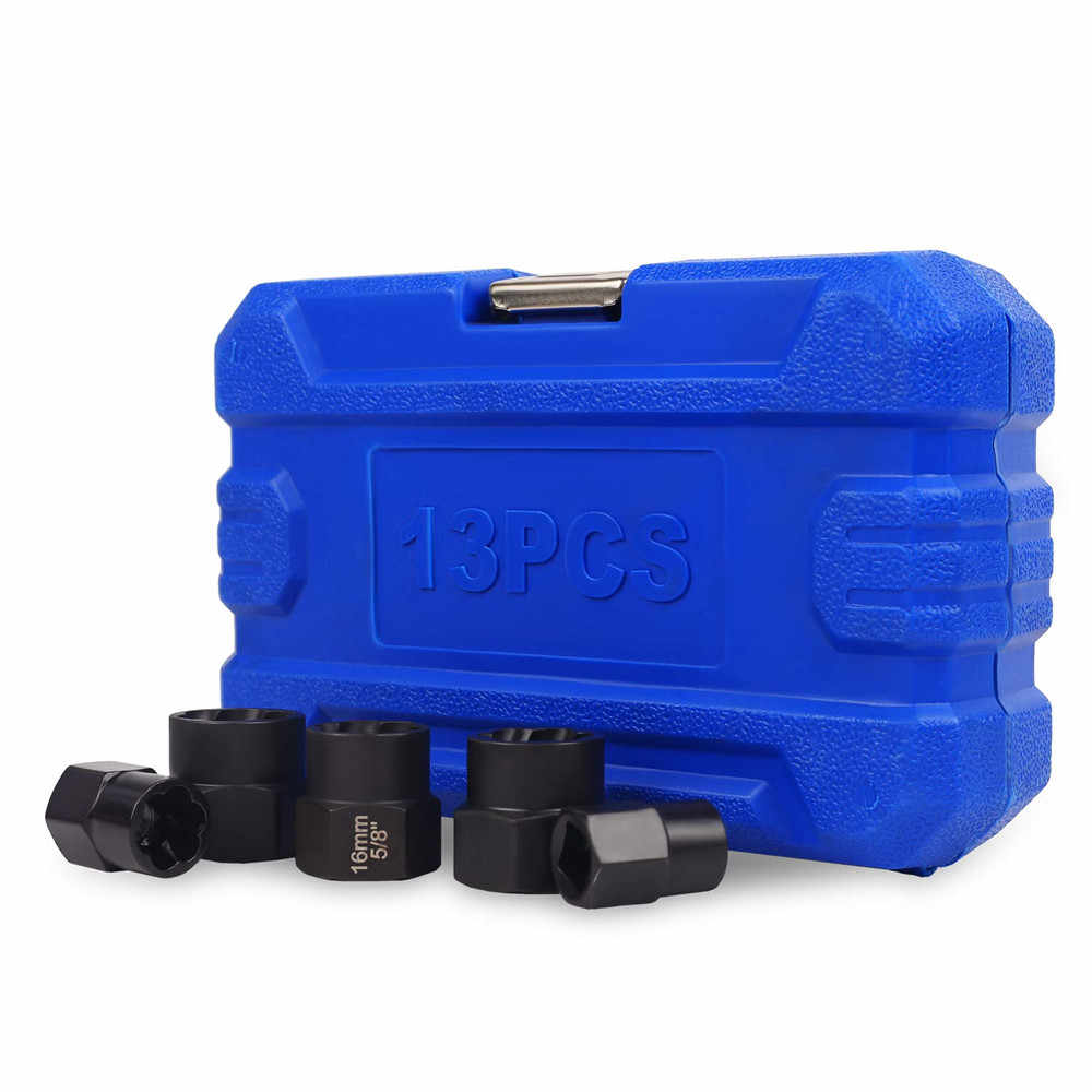 14Pcs Impact Beschadigd Bout Moer Remover Extractor Socket Tool Set Met Socket Moer Adapter Bout Moer Schroef Removal Socket wrench
