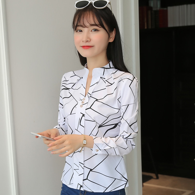 H7d1af8f7de014b5aa750ec6d6fa4b174u - Women Fashion White Tops and Blouses Stripe Print Design Casual Long Sleeve Office Lady Work Formal Shirts Female Plus Size
