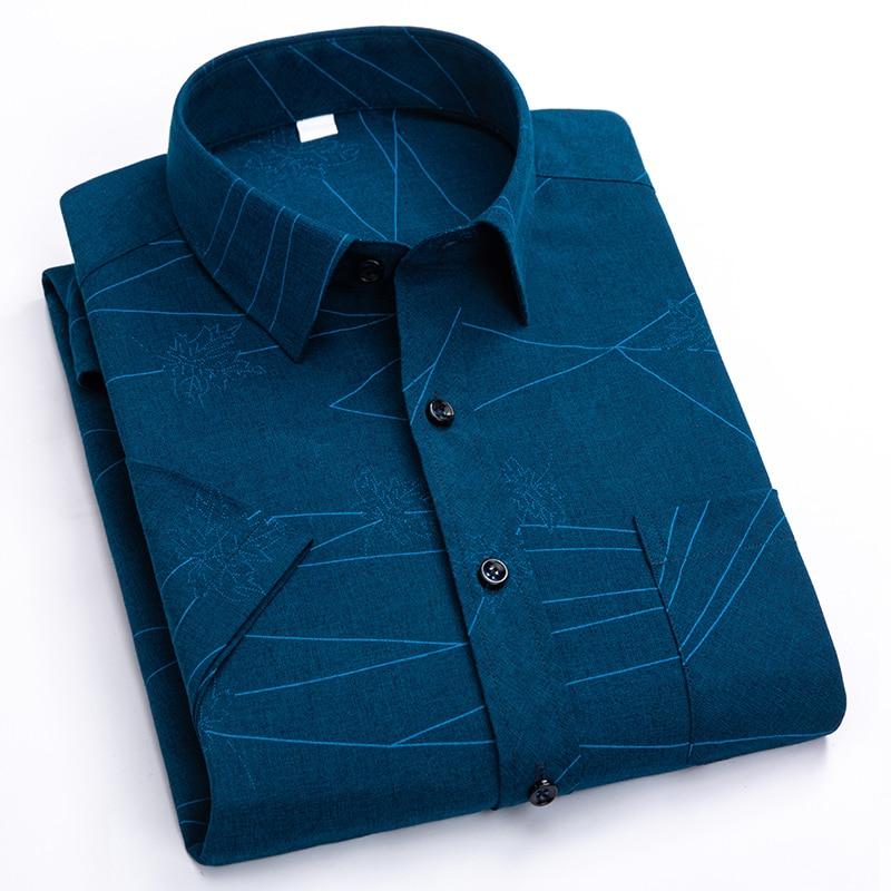 Men's Short Sleeve Shirt Fashion Striped Plaid Print Slim Left Pocket Light Color Dark Dress Summer Social Workwear Turndown XXL