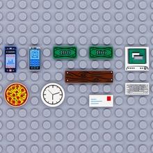 Compatible City Accessories Printed Tile Building Blocks Computer TV Phone Clock Letter Parts MOC Brick Children Toys Friends