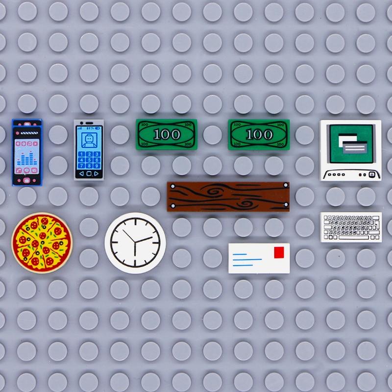 Compatible LegoINGlys City Accessories Printed Tile Building Blocks Computer TV Phone Clock Letter Parts MOC Brick Toys Friends