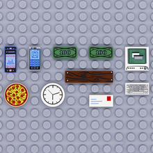 互換市アクセサリープリントタイルビルディングブロックコンピュータテレビ電話時計文字部品 moc レンガの子供のおもちゃ友人