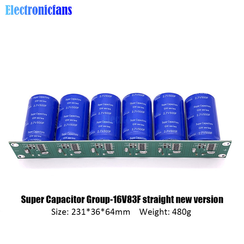 New 2.7V 500F 6 Pcs/1 Set Super Capacitance 16V 83F Super Farad Capacitor With Protection Board Automotive Capacitors Single Row