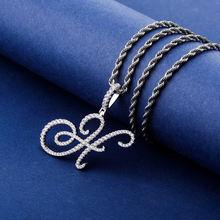 Новый a z курсивных букв имя кулон & ожерелье нержавеющая сталь