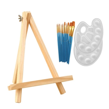 1 Set 13Pcs Acrylic Artist Painting Set Include 10Pcs Acrylic Painting Brushes, 2Pcs Palette and 1Pcs Mini Table Easel