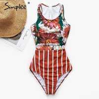 Simplee Sexy floral print bikini 2019 new Vintage female swimsuit with zipper Monokini Plus size swimwear women bathers Summer