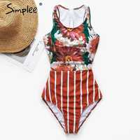 Simplee Sexy floral print bikini 2019 new Vintage female swimsuit with zipper Monokini Plus size swimwear women bathers Summer