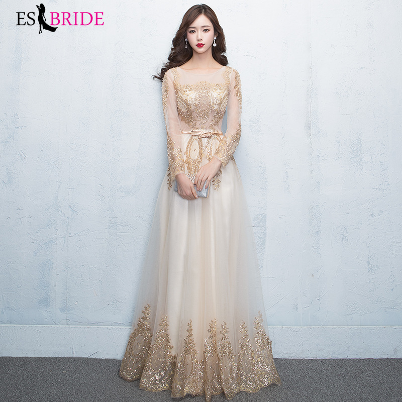 O-Neck Evening Dress Long Sleeves Robe De Soiree 2019 Tulle With Gold Applique Evening Dresses Real Photo Formal Gown ES2737