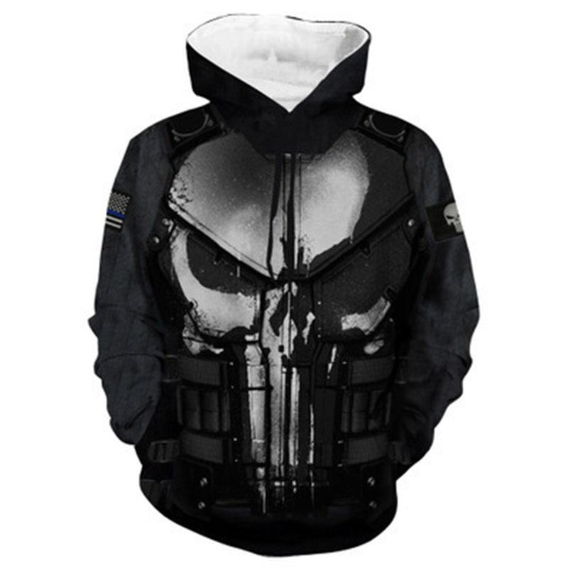 The Punisher Cosplay Hoodie Sweatshirts Mens Male 3d Print Fashion Cool Hip Hop Hooded Jacket Coats Streetwear-in Hoodies & Sweatshirts from Men's Clothing